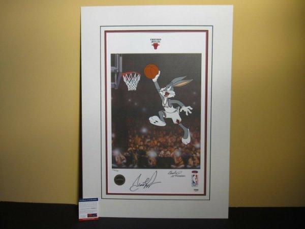 Scottie Pippen Autographed Signed & Mckimson Autograph 19X22 Warner Looney Tunes Litho PSA