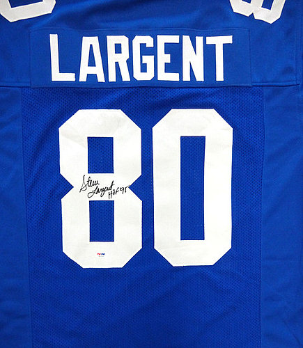 Steve Largent Autographed//Signed Seattle Framed Throwback Blue Custom Jersey WithHOF 95 Inscription