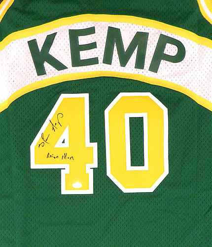 292676b156f Seattle Sonics Shawn Kemp Autographed Signed Green Adidas Hardwood Classics  Jersey Reign Man - Certified Authentic