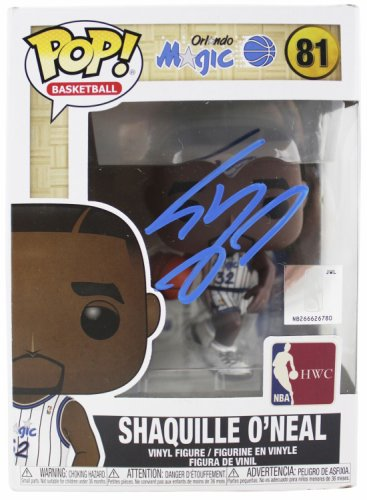 Shaquille O'neal Autographed Signed Magic NBA Hwc Funko Pop Vinyl Figure With Blue Sig Beckett