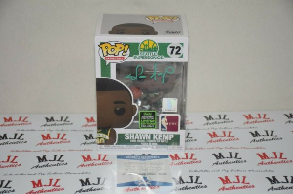 Shawn Kemp Autographed Signed Autographed Funko Pop 72 Beckett COA Seattle Supersonics