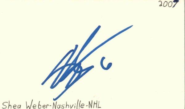 Shea Weber Autographed Signed Nashville NHL Hockey Signed Index Card JSA COA