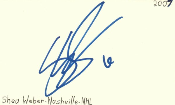 Shea Weber Autographed Signed Nashville NHL Hockey Signed Index Card JSA COA