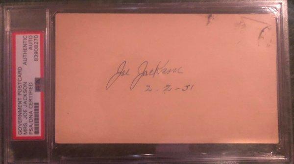 Shoeless Joe Jackson Autographed Signed -Encapsulated -Mrs Jackson Dated 2/2/1951 PSA