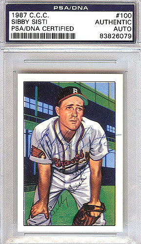 Sibby Sisti Autographed Memorabilia 1952 Bowman Reprints Card 100 Boston Braves