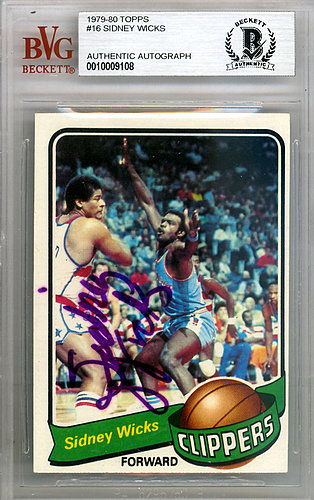 Sidney Wicks Autographed Signed 1979 Topps Card #16 San Diego Clippers - Beckett BAS Authentic