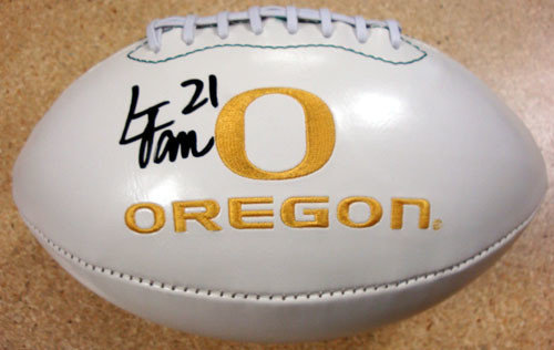 Signed LaMichael James Autographed White Embroidered Logo Football Oregon Ducks - PSA/DNA Certified