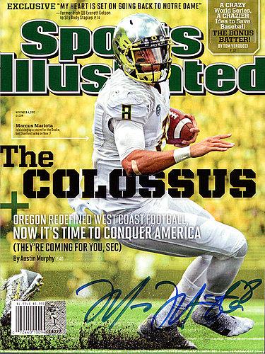 Signed Marcus Mariota Autographed Sports Illustrated Magazine Oregon Ducks MM Holo Stock #89202