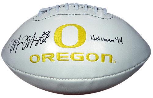 Signed Marcus Mariota Autographed White Embroidered Logo Football Oregon Ducks 2014 Heisman MM Holo Stock #89836