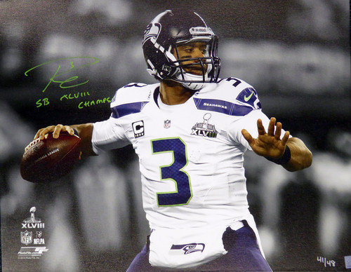 Signed Russell Wilson Autographed 24x30 Canvas Photo Seattle ...