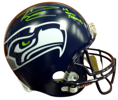 5ee687ac1d6 Signed Russell Wilson Autographed Seattle Seahawks Riddell Football Helmet SB  XLVIII Champs In Green RW Holo ...