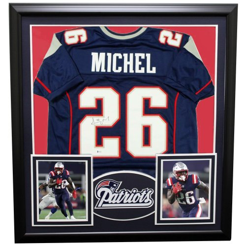 Sony Michel New England Patriots Framed Autographed Signed Custom Jersey -  Beckett Authentic f9e886fef