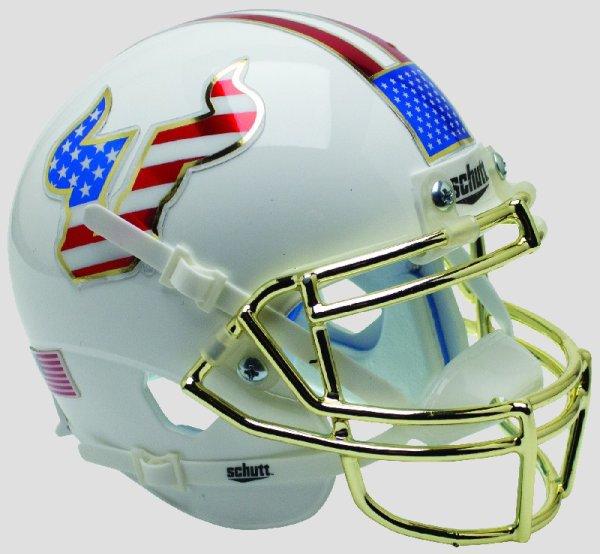 South Florida Bulls Mini XP Authentic Helmet Schutt Flag with Chrome Mask