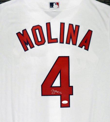 St. Louis Cardinals Yadier Molina Autographed Signed Majestic White Cool Base Jersey Size L JSA