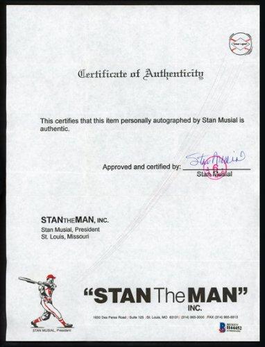 Stan Musial Autographed Signed 8.5X11 Certificate St. Louis Cardinals Beckett Bas #H44452