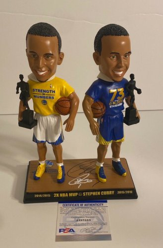 Stephen Curry Autographed Signed 2X NBA Champ/ 2X MVP Bobblehead PSA Ai 37583