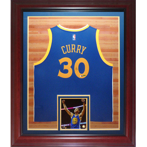 0525ce812 Stephen Curry Autographed Signed Auto Golden State Warriors Blue  30  Swingman Deluxe Framed Jersey