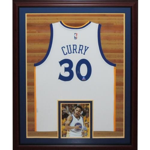 52dd3360d Stephen Curry Autographed Signed Auto Golden State Warriors White  30  Swingman Deluxe Framed Jersey