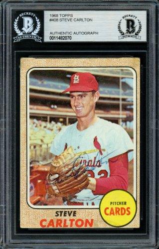 Steve Carlton Autographed Signed 1968 Topps Card 408 St. Louis Cardinals Vintage Beckett BAS 11482070