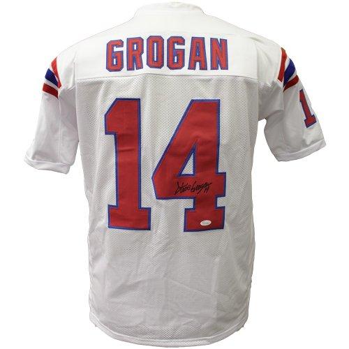 0b2b6852 Steve Grogan Autographed Signed New England Patriots White Custom Jersey-  JSA Authentic