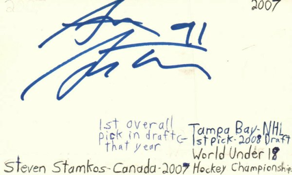 Steve Stamkos Autographed Signed Tampa Bay NHL Hockey Signed Index Card JSA COA