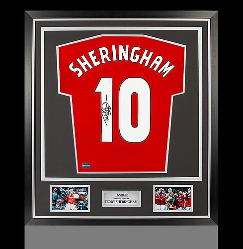 Teddy Sheringham Back Autographed Signed Manchester United Home Shirt In  Classic Frame f0fe2e0e3