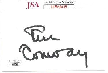 Tim Conway Autographed Signed 3x5 Index Card    JSA #JJ96605 (McHale's Navy/Carol Burnett Show/Dorf)