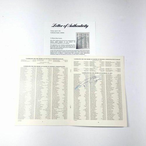 Tim Duncan Autographed Signed Wake Forest Graduation Program PSA/DNA Loa Spurs Autographed