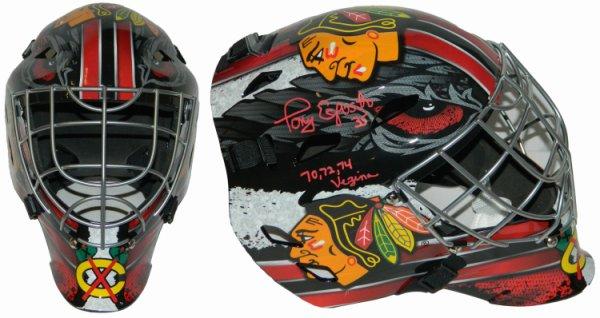 Tony Esposito Autographed Signed Chicago Blackhawks Franklin Replica Hockey Goalie Mask w/70,72,74 Vezina