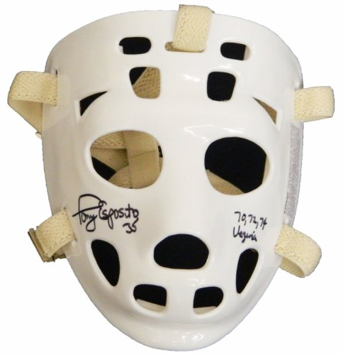 Tony Esposito Autographed Signed White Throwback Goalie Mask w/70, 72, 74 Vezina