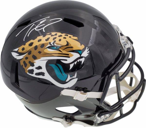 Travis Etienne Autographed Signed Jacksonville Jaguars Black Full Size Replica Speed Helmet Beckett BAS QR