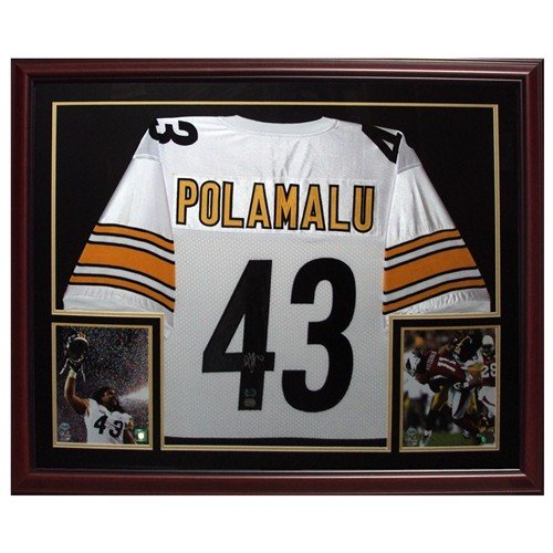 acca91b0d Troy Polamalu Autographed Signed Auto Pittsburgh Steelers White  43 Deluxe  Framed Jersey   Polamalu Holo