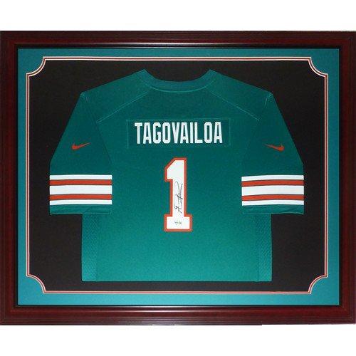 Tua Tagovailoa Autographed Signed Miami Dolphins (Teal #1) Deluxe Framed Nike Jersey - Fanatics