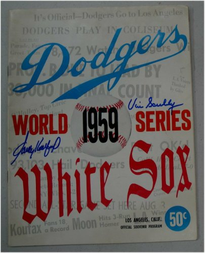 Vin Scully Autographed Signed Sandy Koufax Auto Original 1959 World Series Program JSA