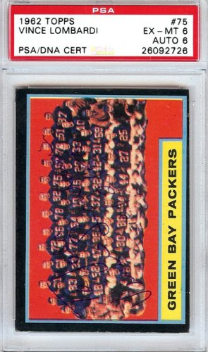 Vince Lombardi Autographed Signed 1962 Topps Trading Card #75 Green Bay Packers To John 10/2/63 - PSA/DNA Certified