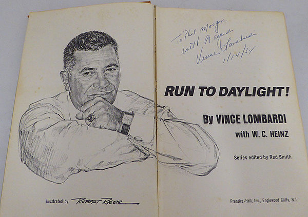 Vince Lombardi Autographed Signed Auto Book Green Bay Packers To Phil Morgan - Beckett Certified