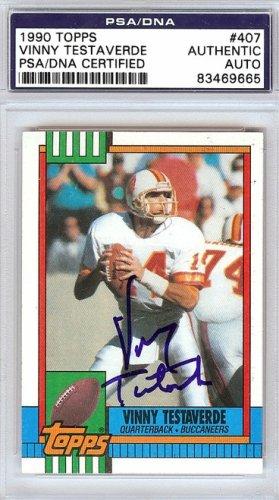 Vinny Testaverde Autographed Signed 1990 Topps Card #407 - PSA/DNA Certified