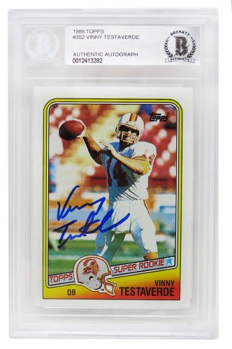 Vinny Testaverde Autographed Signed Buccaneers 1988 Topps Rookie Card #352 - (Beckett Encapsulated)