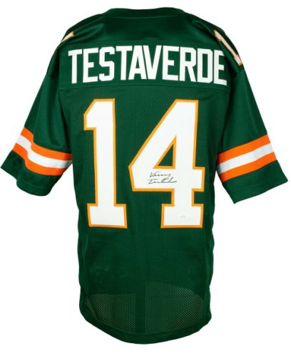 Vinny Testaverde Autographed Signed Custom Green College Style Football Jersey JSA Itp