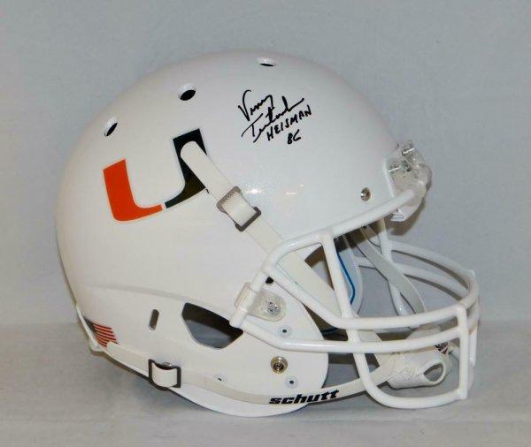 Vinny Testaverde Autographed Signed F/S Miami Hurricanes Schutt Helmet W/ Heisman- JSA W Aut