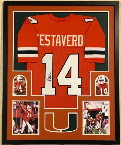 Vinny Testaverde Autographed Signed Framed Miami Hurricanes Signed Jersey JSA COA