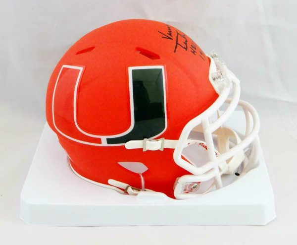 Vinny Testaverde Autographed Signed Hurricanes Amp Speed Mini Helmet With Insc- Beckett Auth