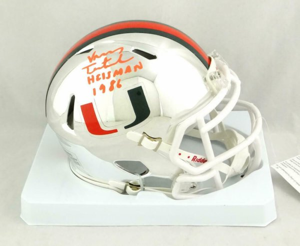 Vinny Testaverde Autographed Signed Hurricanes Chrome Speed Mini Helmet With Insc- JSA W Auth
