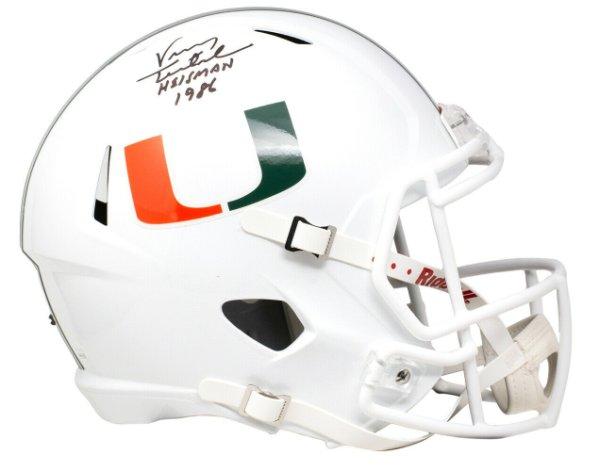 Vinny Testaverde Autographed Signed Hurricanes Full Size White Spd Rep Helmet Heisman JSA