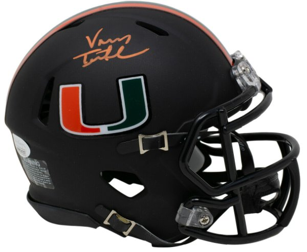 Vinny Testaverde Autographed Signed Hurricanes Mini Matte Black Speed Replica Helmet JSA Itp