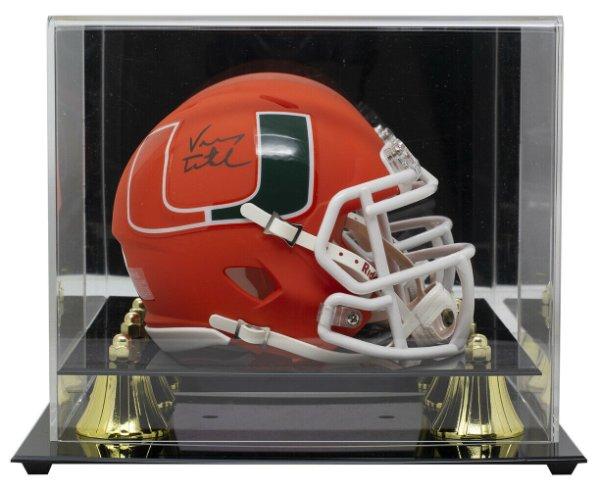 Vinny Testaverde Autographed Signed Hurricanes Mini Orange Spd Replica Amp Helmet With Case JSA