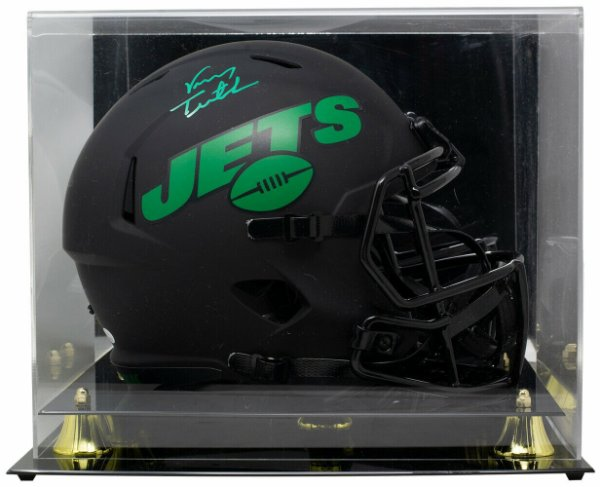 Vinny Testaverde Autographed Signed Jets Full Size Matte Black Eclipse Helmet With Case JSA Itp