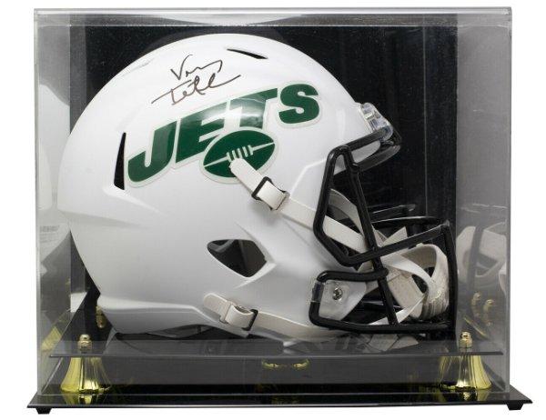 Vinny Testaverde Autographed Signed Jets Full Size Matte White Spd Rep Helmet With Case JSA Itp