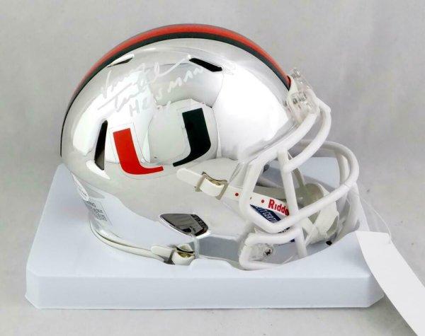 Vinny Testaverde Autographed Signed Miami Hurricanes Chrome Mini Helmet With Insc-Beckett Auth