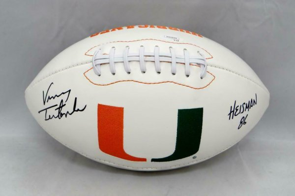Vinny Testaverde Autographed Signed Miami Hurricanes Logo Football W/ Heisman- JSA W Au